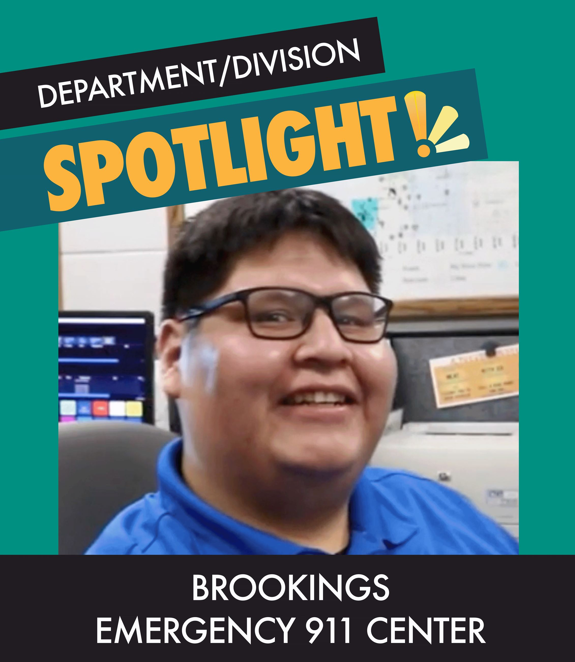 "Graphic Animation showcasing Photos of Emergency 911 Dispatchers with text  ""Division Spotlight&#"