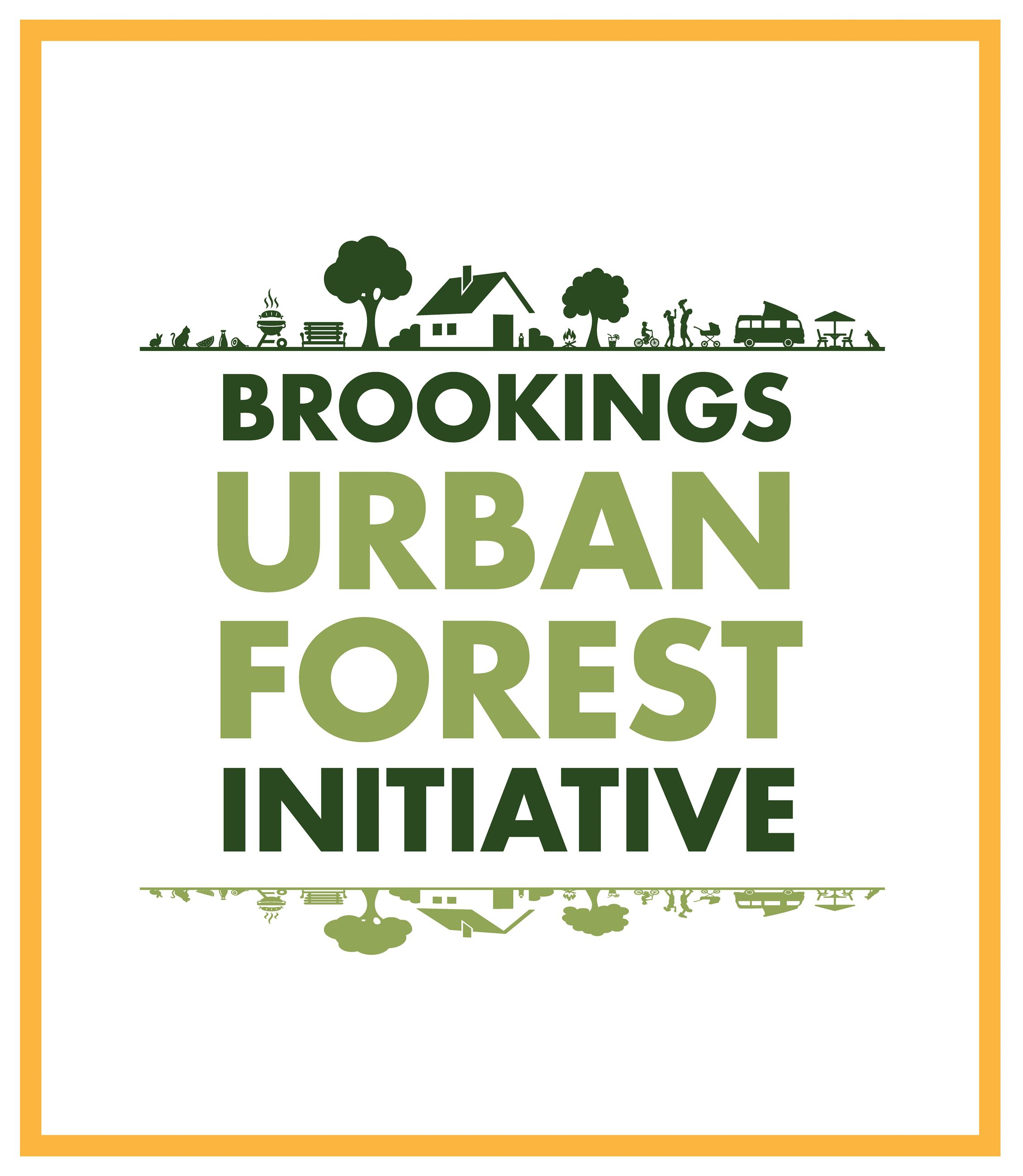 "Graphics of trees and a house. Graphic test says ""Brookings Urban Forest Initiative"