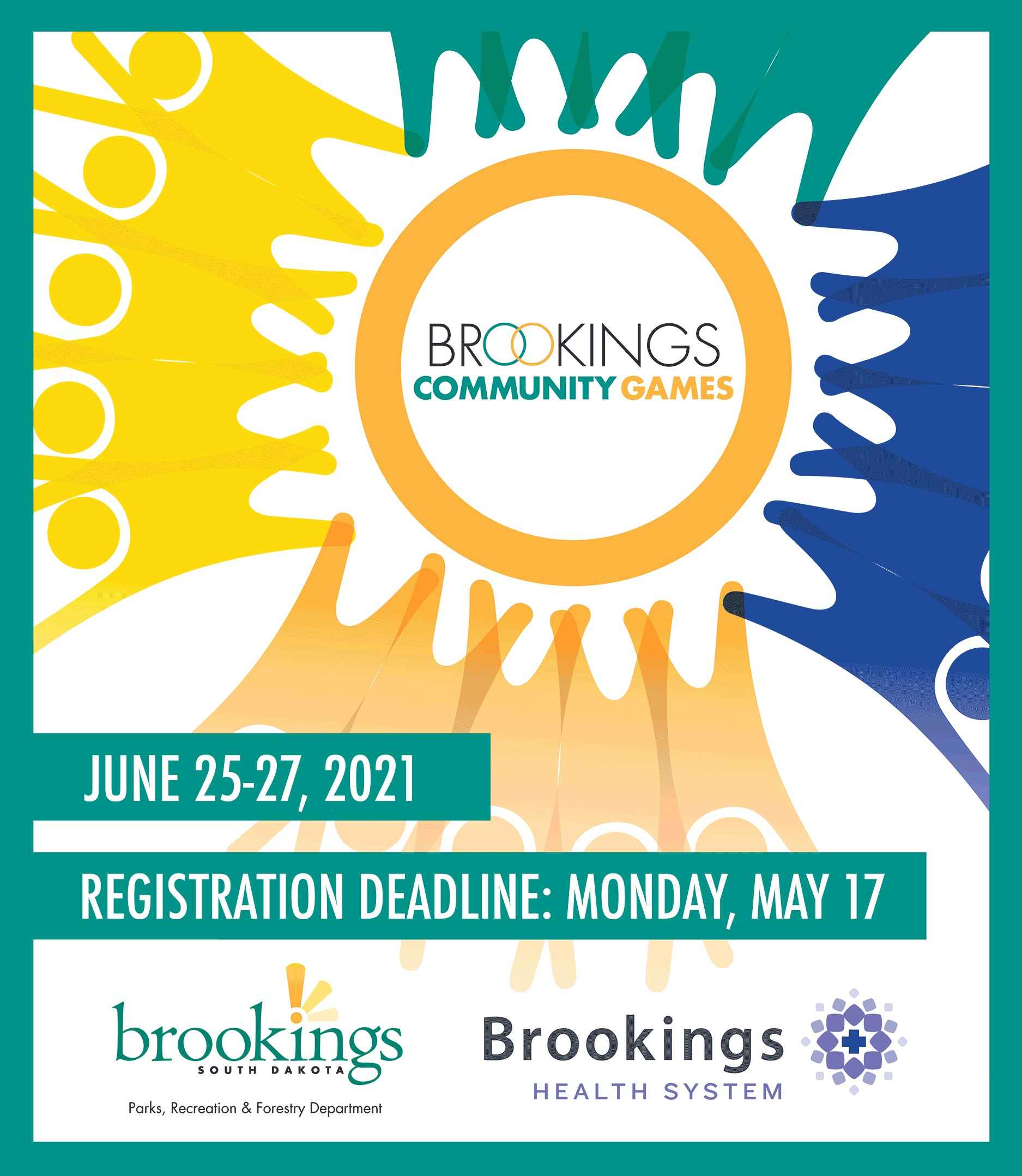 Brookings Community Games Logo graphic with text that reads June 25 through 27 2021.