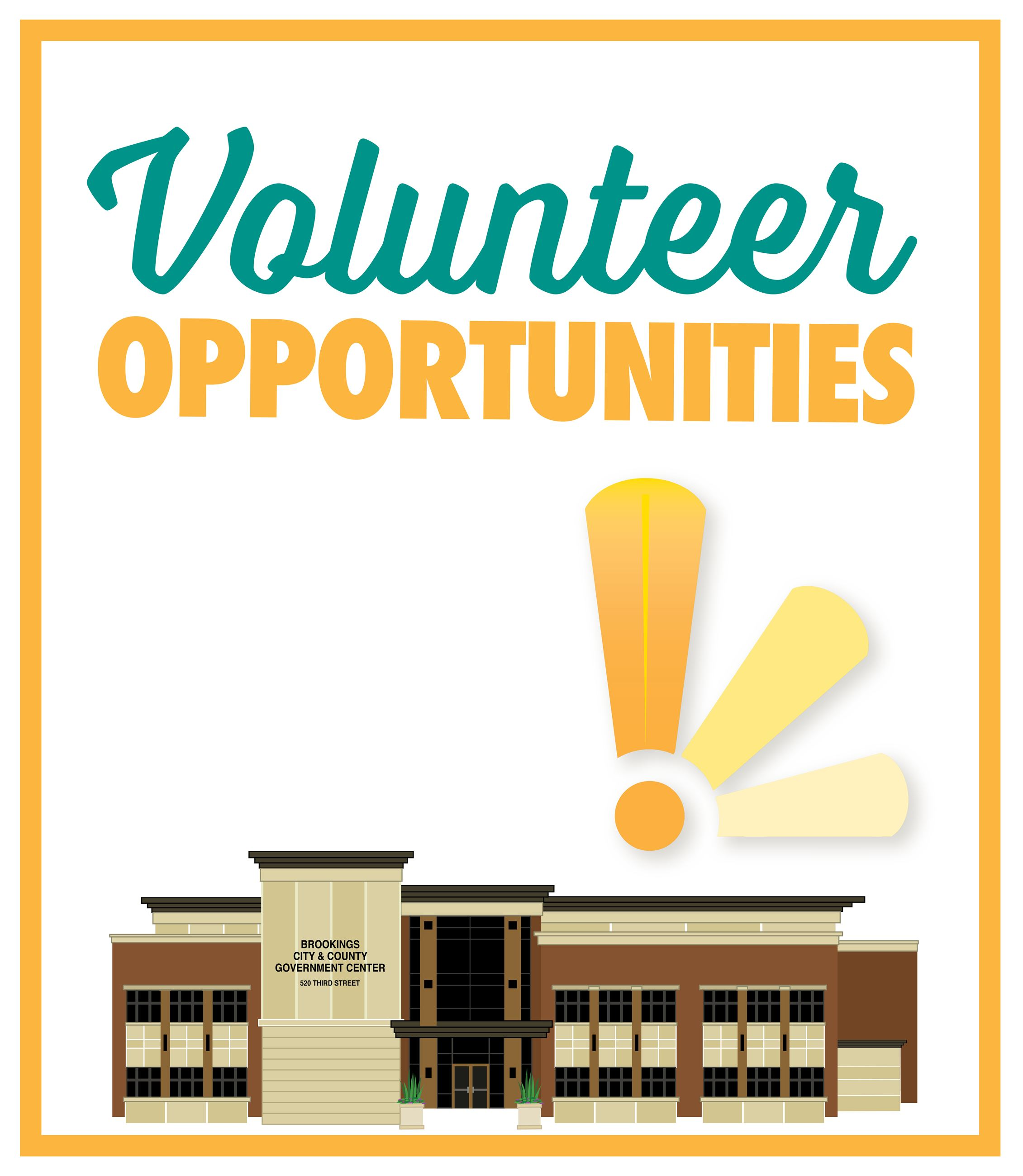 Volunteer Opportunities Graphic that says the words Volunteer Opportunities