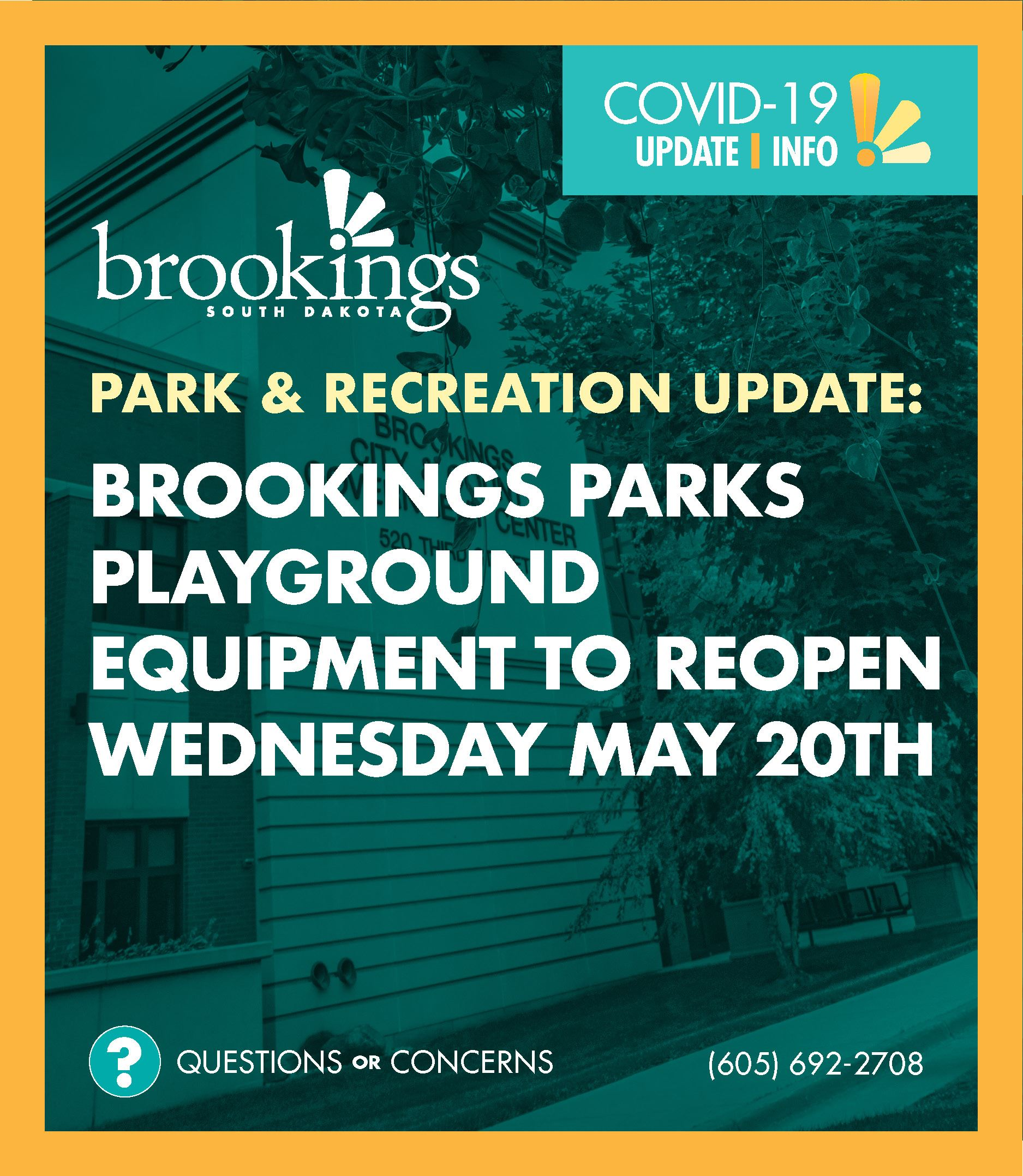 Brookings Playground Equipment to Reopen Wednesday May 20th