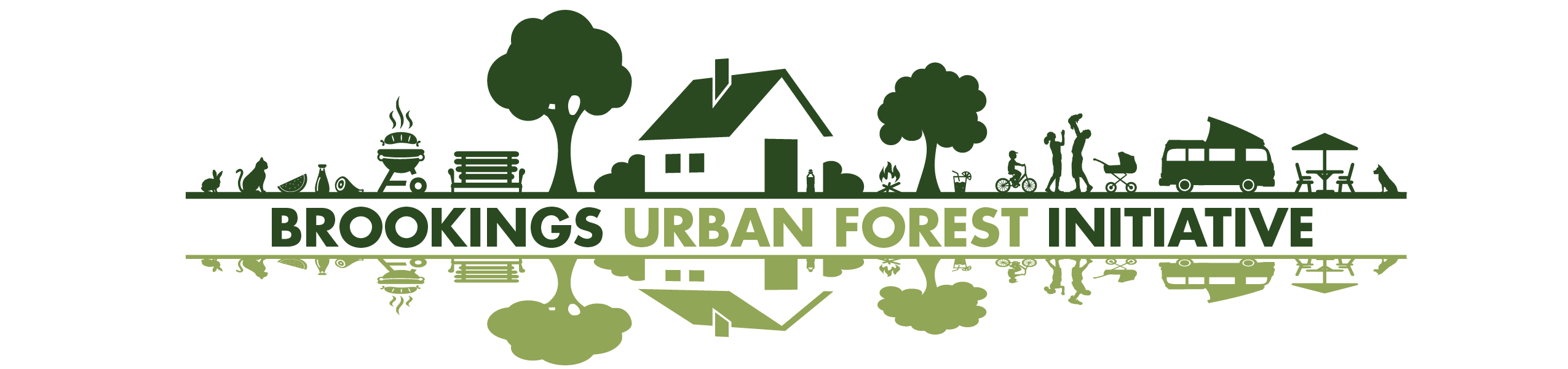 Graphic of a neighborhood with trees With text that says Brookings Urban Forest Initiative